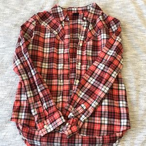 Red white and blue plaid shirt size 12 kids